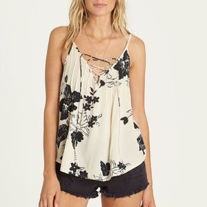 Billabong Illusions Of Beige Lace Up Camisole NWT